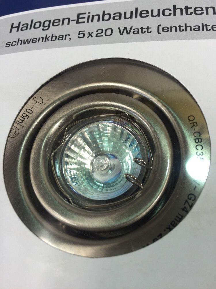 5x halogen einbauleuchten 20 w schwenkbar dimmbar satin m